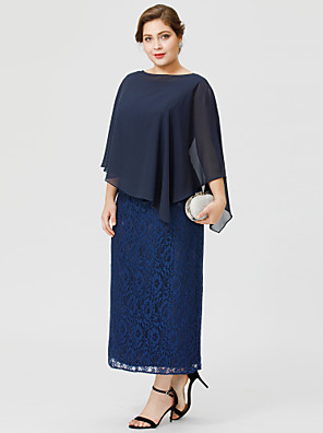 cheap Mother of the Bride Dresses-Sheath / Column Bateau Neck / Jewel Neck Tea Length Chiffon / All Over Lace Sleeveless Classic & Timeless / Elegant & Luxurious / Plus Size Mother of the Bride Dress with Lace Mother's Day 2020