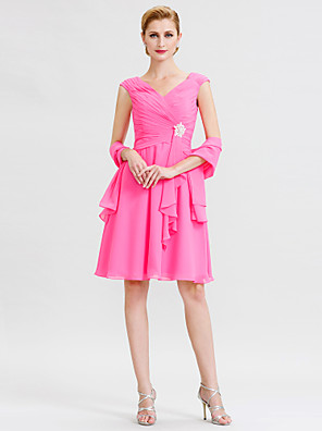 cheap Mother of the Bride Dresses-A-Line Mother of the Bride Dress Open Back Wrap Included V Neck Knee Length Chiffon Sleeveless with Criss Cross Crystal Brooch 2020