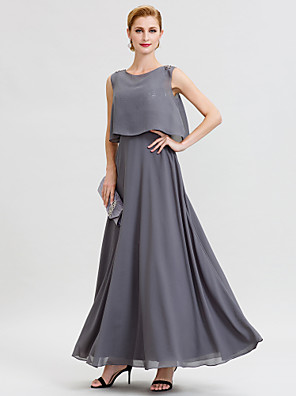 cheap Mother of the Bride Dresses-A-Line Mother of the Bride Dress Open Back Two Piece Jewel Neck Ankle Length Chiffon Sequined Sleeveless with Sashes / Ribbons Beading 2020