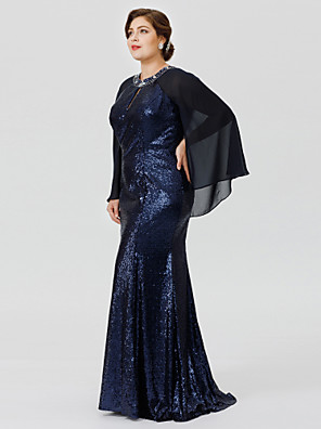 cheap Mother of the Bride Dresses-Plus Size Mermaid / Trumpet Jewel Neck Floor Length Chiffon Sequined Mother of the Bride Dress with Beading Crystal Detailing by LAN TING BRIDE®