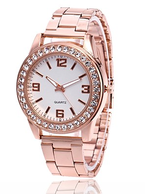 povoljno Kvarcni satovi-Muškarci Žene Ručni satovi s mehanizmom za navijanje Diamond Watch Zlatni sat Kvarc Metal Srebro / Zlatna / Rose Gold Casual sat Analog Šarm Ležerne prilike Simulirani Diamond Watch - Rose Gold Zlato