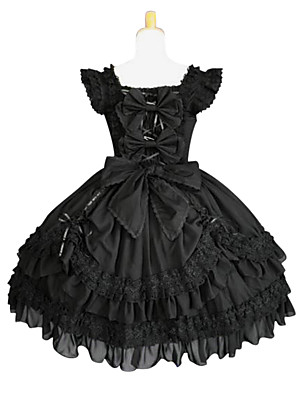 cheap Prom Dresses-Gothic Lolita Lolita Dress Women's Pure Color Japanese Cosplay Costumes Plus Size Customized Black Ball Gown Solid Colored Butterfly Sleeve Sleeveless