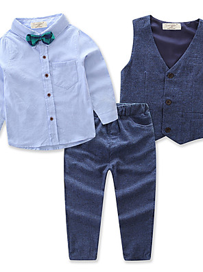 cheap Boys' Clothing Sets-Boys' Active Party Daily Solid Colored Long Sleeve Regular Regular Clothing Set Blue