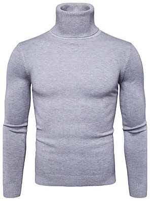 cheap Men's Sweaters & Cardigans-Men's Solid Colored Pullover Long Sleeve Regular Sweater Cardigans Turtleneck Fall Winter White Black Red