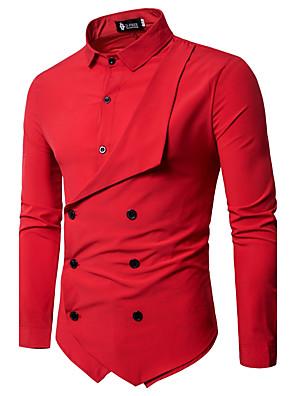 abordables Camisas de Hombre-Hombre Un Color Básico Delgado Camisa Tejido Oriental Diario Cuello Inglés Blanco / Negro / Rojo / Azul Marino / Manga Larga