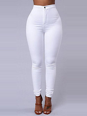 cheap Women's Pants-Women's Basic Daily Going out Slim Pants - Solid Colored Winter Wine White Black S / M / L