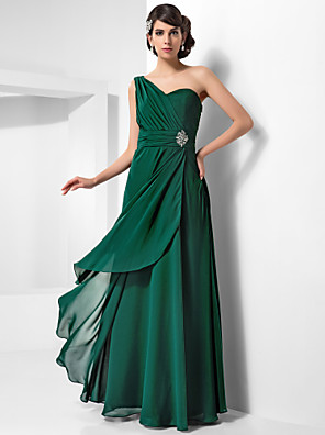 cheap Special Occasion Dresses-Sheath / Column Open Back Formal Evening Military Ball Dress One Shoulder Sleeveless Floor Length Chiffon with Ruched Crystals Draping 2020