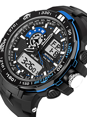 cheap Sport Watches-Men's Women's Sport Watch Military Watch Smartwatch Digital Charm Water Resistant / Waterproof Silicone Black Analog - Digital - Black Red Blue / Alarm / Calendar / date / day / Chronograph / LCD