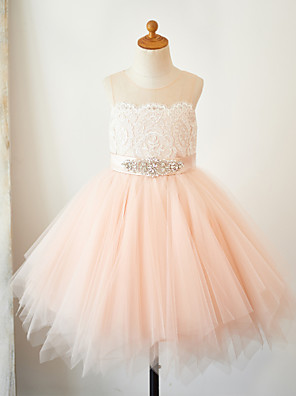 cheap Flower Girl Dresses-A-Line Knee Length Pageant Flower Girl Dresses - Lace / Tulle Sleeveless Jewel Neck with Lace / Sash / Ribbon