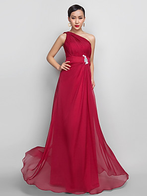cheap Evening Dresses-A-Line Open Back Prom Formal Evening Dress One Shoulder Sleeveless Floor Length Chiffon with Appliques Side Draping 2020