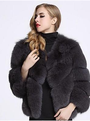 cheap Women's Fur & Faux Fur Coats-Women's Winter Fur Coat Daily Short Solid Colored Wine / White / Black S / M / L