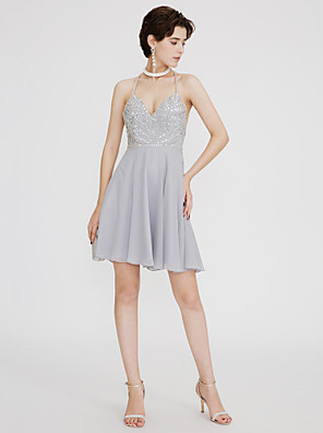 cheap Special Occasion Dresses-A-Line Sparkle & Shine Open Back Cute Holiday Homecoming Cocktail Party Dress V Neck Sleeveless Short / Mini Chiffon with Pleats Beading 2020
