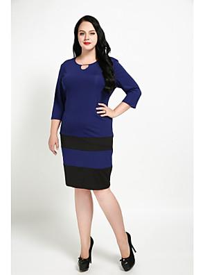 cheap Plus Size Dresses-Women's Plus Size Royal Blue Black Dress Vintage Fall Daily Tunic Color Block Sequins XXL XXXL / Cotton