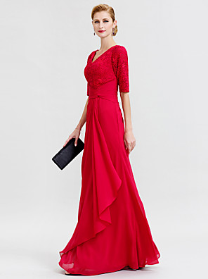 cheap Mother of the Bride Dresses-Sheath / Column Mother of the Bride Dress Elegant V Neck Floor Length Chiffon Corded Lace Half Sleeve with Criss Cross 2020