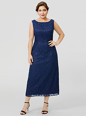cheap Wedding Slips-Sheath / Column Bateau Neck / Jewel Neck Tea Length Chiffon / All Over Lace Sleeveless Classic & Timeless / Elegant & Luxurious / Plus Size Mother of the Bride Dress with Lace Mother's Day 2020