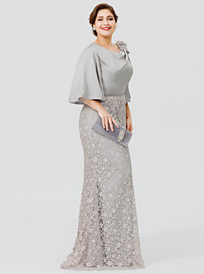 cheap Mother of the Bride Dresses-Mermaid / Trumpet Cowl Neck Sweep / Brush Train Satin Chiffon / Lace Over Satin Half Sleeve Sexy / Plus Size Mother of the Bride Dress with Appliques Mother's Day 2020