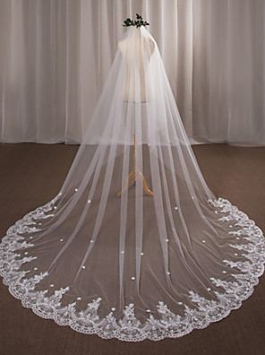 cheap Wedding Veils-One-tier Wedding Veil Chapel Veils with Appliques Lace / Tulle / Angel cut / Waterfall