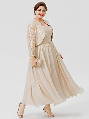 cheap Mother of the Bride Dresses-Ball Gown Straps Ankle Length / Tea Length Chiffon / Beaded Lace Sleeveless Elegant / Plus Size Mother of the Bride Dress with Ruched / Beading Mother's Day 2020