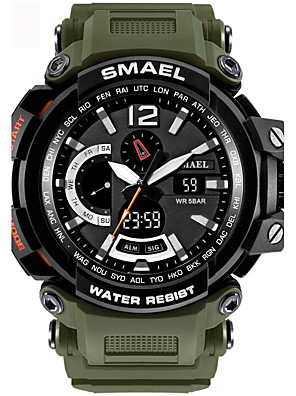 cheap Sport Watches-SMAEL Men's Sport Watch Digital Watch Digital Water Resistant / Waterproof Quilted PU Leather Black / Blue / Red Analog - Digital - Black / Blue Black / Gray Black / Silver / Stainless Steel / Alarm