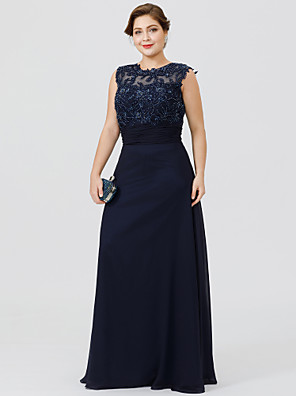 cheap Bridesmaid Dresses-A-Line Jewel Neck Floor Length Chiffon / Beaded Lace Sleeveless Elegant & Luxurious / Beautiful Back / Plus Size Mother of the Bride Dress with Ruched / Beading / Appliques Mother's Day 2020