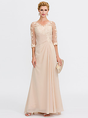cheap Bridesmaid Dresses-Sheath / Column Mother of the Bride Dress Elegant See Through V Neck Floor Length Chiffon Sheer Lace Half Sleeve with Appliques Side Draping 2020 / Illusion Sleeve