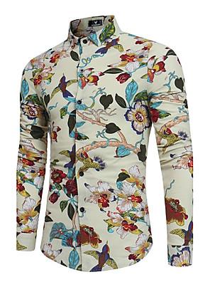 cheap Men's Shirts-Men's Floral Print Slim Shirt - Cotton Linen Boho Party Going out Weekend Classic Collar Black / Beige / Gray / Long Sleeve