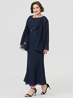 cheap Mother of the Bride Dresses-Mermaid / Trumpet Bateau Neck Tea Length Chiffon Long Sleeve Elegant / Plus Size Mother of the Bride Dress with Beading Mother's Day 2020