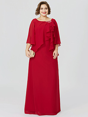 cheap Mother of the Bride Dresses-Sheath / Column Jewel Neck Floor Length Chiffon Half Sleeve Classic & Timeless / Elegant & Luxurious / Elegant Mother of the Bride Dress with Crystals / Ruffles Mother's Day 2020 / Butterfly Sleeve