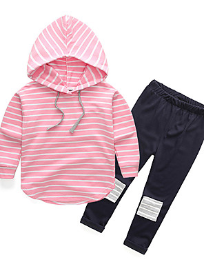 cheap Girls' Dresses-Toddler Girls' Casual Active Striped Long Sleeve Regular Regular Cotton Clothing Set Blushing Pink / Cute