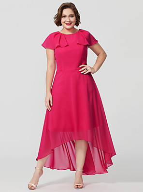 cheap Mother of the Bride Dresses-Plus Size A-Line Jewel Neck Asymmetrical Chiffon Mother of the Bride Dress with Pleats / Flounced by LAN TING BRIDE® / Butterfly Sleeve