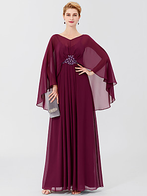 cheap Bridesmaid Dresses-Sheath / Column Mother of the Bride Dress Classic & Timeless Elegant & Luxurious Elegant V Neck Floor Length Chiffon Long Sleeve with Pleats Beading 2020 / Butterfly Sleeve