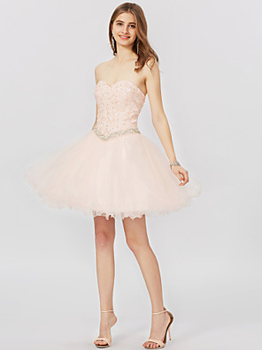 cheap Special Occasion Dresses-Ball Gown Classic & Timeless Open Back Lace Up Holiday Homecoming Cocktail Party Dress Sweetheart Neckline Sleeveless Short / Mini Tulle Beaded Lace with Pleats Crystals Appliques 2020