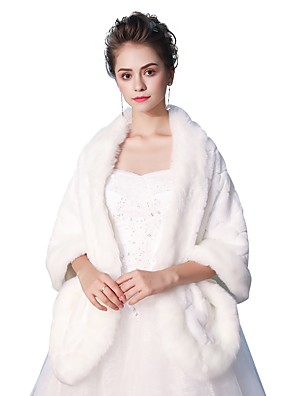 cheap Evening Dresses-Sleeveless Shawls Faux Fur Wedding / Party / Evening Women's Wrap With Smooth