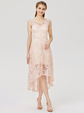 cheap Evening Dresses-A-Line / Ball Gown Strap Asymmetrical All Over Lace Bridesmaid Dress with Appliques / Pleats / See Through