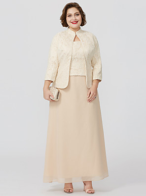 cheap Cocktail Dresses-Sheath / Column Square Neck Ankle Length Chiffon Over Satin 3/4 Length Sleeve Plus Size / Convertible Dress / Two Piece Mother of the Bride Dress with Lace Mother's Day 2020 / Wrap Included