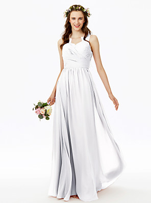 cheap Wedding Wraps-A-Line V Neck Floor Length Chiffon Bridesmaid Dress with Lace / Criss Cross / Pleats