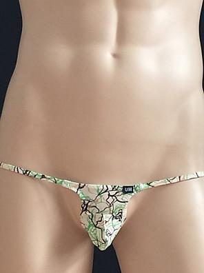cheap Men's Exotic Underwear-Men's Print Ultra Sexy Panties Geometric 1 Piece Low Waist Wine White Blue M L XL / Club