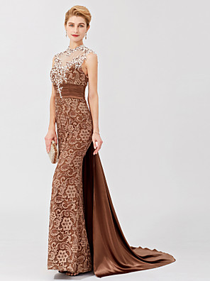 cheap Mother of the Bride Dresses-Mermaid / Trumpet Mother of the Bride Dress Classic & Timeless Elegant & Luxurious Beautiful Back High Neck Court Train Satin Sleeveless with Sash / Ribbon Appliques 2020