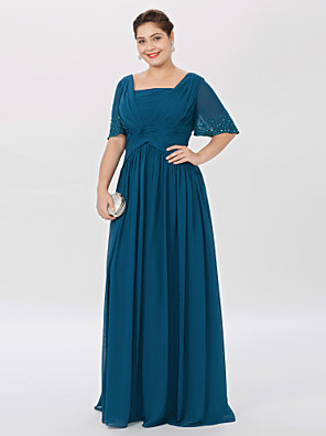 cheap Prom Dresses-Ball Gown / A-Line Square Neck Floor Length Chiffon Short Sleeve Classic & Timeless / Elegant & Luxurious / Elegant Mother of the Bride Dress with Pleats / Beading Mother's Day 2020