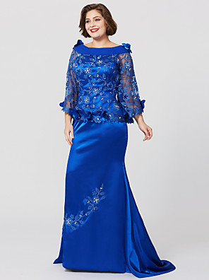 cheap Mother of the Bride Dresses-Mermaid / Trumpet Bateau Neck Sweep / Brush Train Lace Over Charmeuse Long Sleeve Elegant / Plus Size Mother of the Bride Dress with Pleats / Ruffles Mother's Day 2020 / Butterfly Sleeve