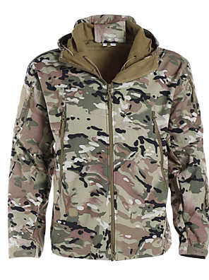 cheap Hiking Trousers & Shorts-Men's Camouflage Hunting Jacket Outdoor Thermal / Warm Waterproof Windproof Breathable Autumn / Fall Winter Camo Jacket Softshell Jacket Winter Jacket Polyester Softshell Long Sleeve Camping / Hiking