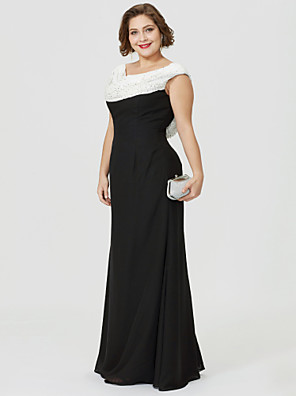 cheap Special Occasion Dresses-Sheath / Column Mother of the Bride Dress Classic & Timeless Elegant & Luxurious Color Block Cowl Neck Floor Length Chiffon Sleeveless with Ruched Beading 2020