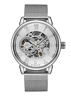 ieftine Cuarț ceasuri-Bărbați Pentru femei Ceas Schelet Ceas Militar  ceas mecanic Mecanism automat Lux Rezistent la Apă Negru / Argint Analog - Negru Argintiu Argintiu / negru Doi ani Durată de Viaţă Baterie / Japoneză