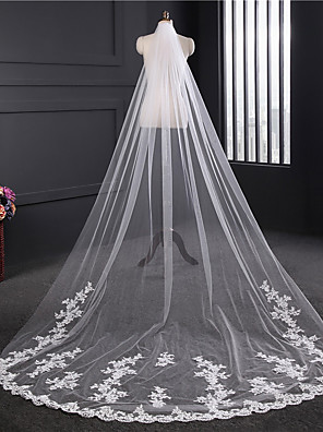 cheap Wedding Veils-One-tier Lace Applique Edge / Elegant & Luxurious Wedding Veil Chapel Veils with Appliques / Embroidery Tulle / Classic