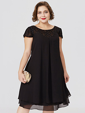 cheap Mother of the Bride Dresses-Sheath / Column Jewel Neck Knee Length Chiffon / Lace Short Sleeve Little Black Dress / Plus Size / See Through Mother of the Bride Dress with Pleats / Beading / Lace Insert Mother's Day 2020
