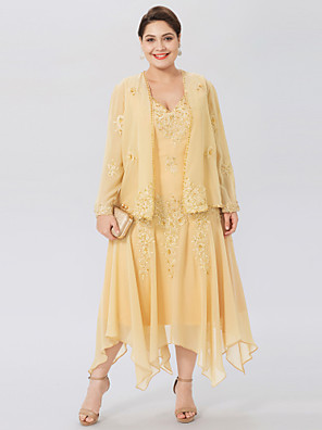 cheap Mother of the Bride Dresses-A-Line V Neck Asymmetrical Chiffon / Beaded Lace Long Sleeve Elegant / Plus Size Mother of the Bride Dress with Beading / Appliques Mother's Day 2020