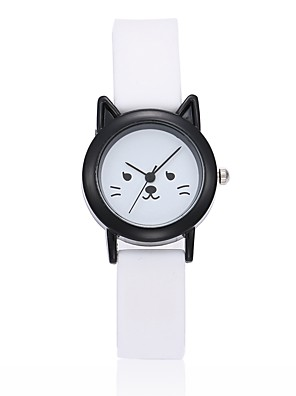 cheap Kids' Watches-Wrist Watch Quartz Ladies Silicone Black / White Analog - White Black