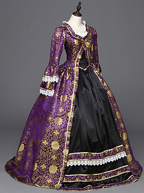 cheap Wedding Slips-Punk Lolita Rococo Victorian 18th Century Dress Party Costume Masquerade Women's Girls' Satin Costume Purple Vintage Cosplay Party Prom Long Sleeve Floor Length Ball Gown Plus Size Customized