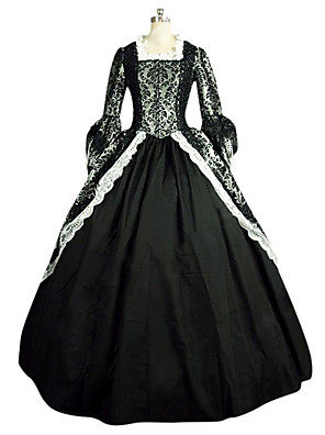 cheap Wedding Slips-Rococo Victorian 18th Century Dress Party Costume Masquerade Women's Lace Lace Satin Costume Black Vintage Cosplay Party Prom Long Sleeve Long Length Ball Gown Plus Size Customized