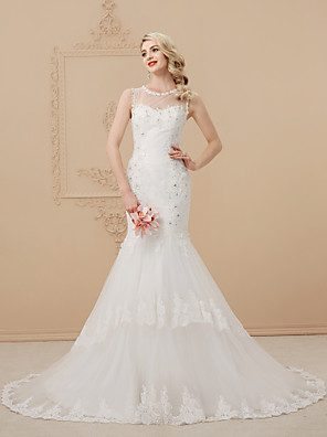 cheap Wedding Dresses-Mermaid / Trumpet Wedding Dresses Scoop Neck Court Train Lace Over Tulle Regular Straps Romantic Sexy Sparkle & Shine Illusion Detail Backless with Beading Appliques 2020